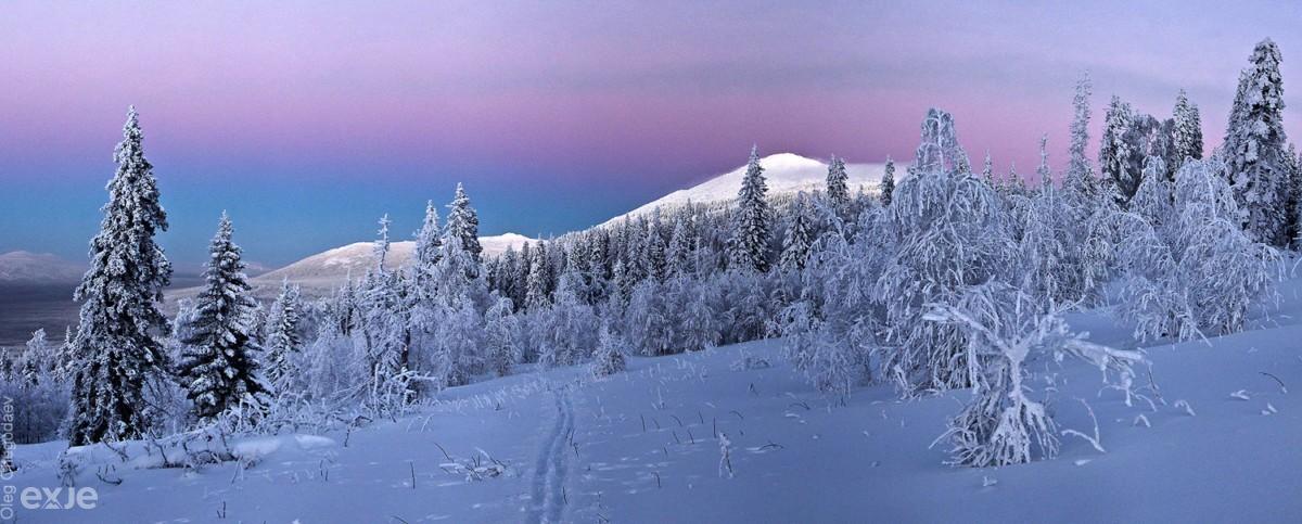 Зимний закат на хребте Нургуш, Южны Урал