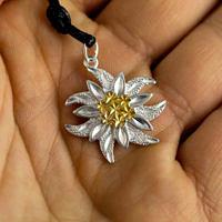 Серебряный эдельвейс с позолотой