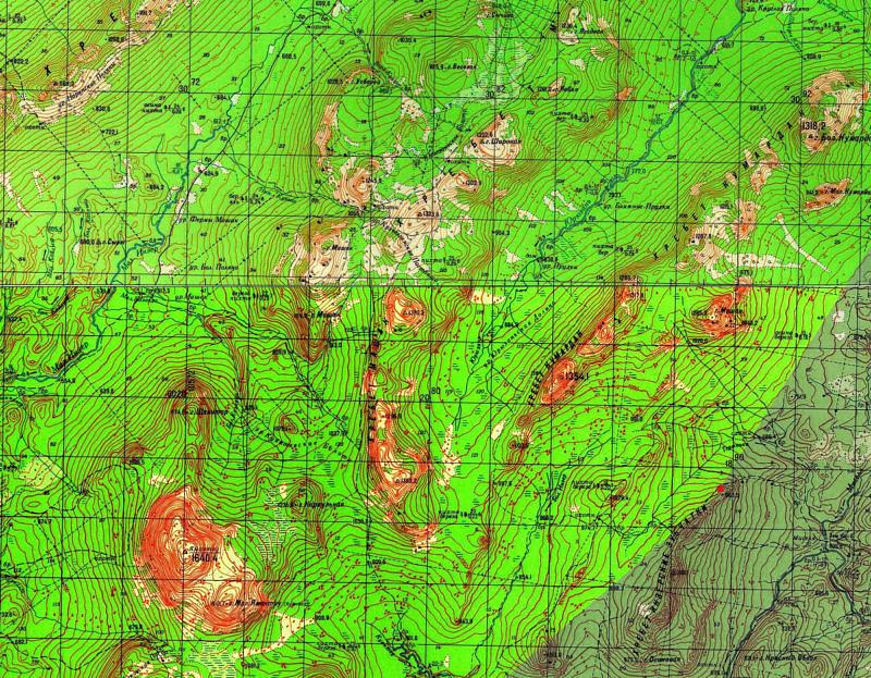 Карта хребтов на запад видимых с Инзерских зубчаток