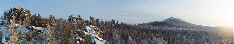 Панорама хребта Инзерские зубчатки, с главное вершиной 1161.1