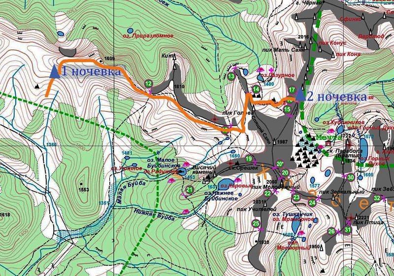 2 день Горный поход по природному парку Ергаки