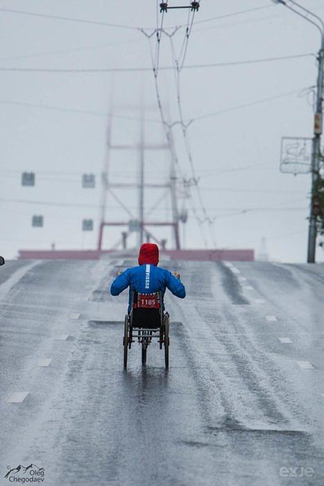Старт инвалидов колясочников на Уфимском международном марафоне