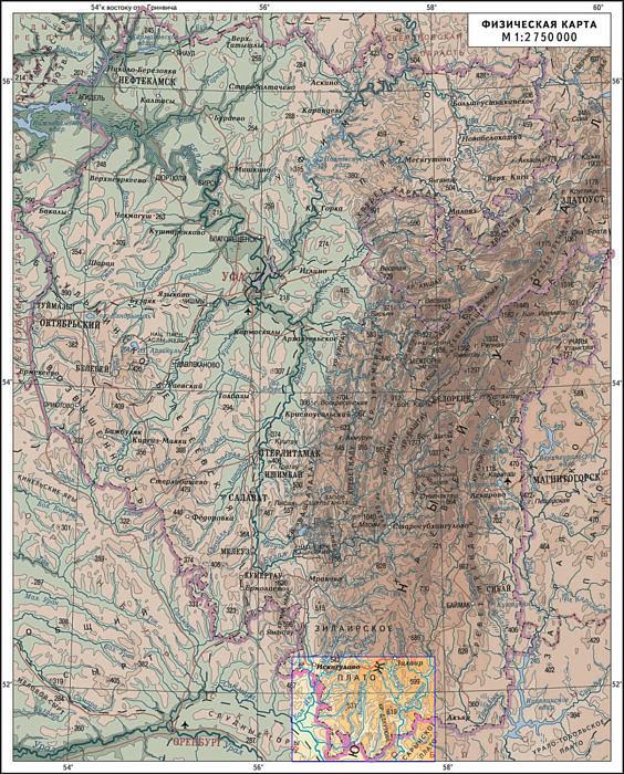 Район вело маршрута отмечен цветом и рамкой на крайнем Юге Башкирии