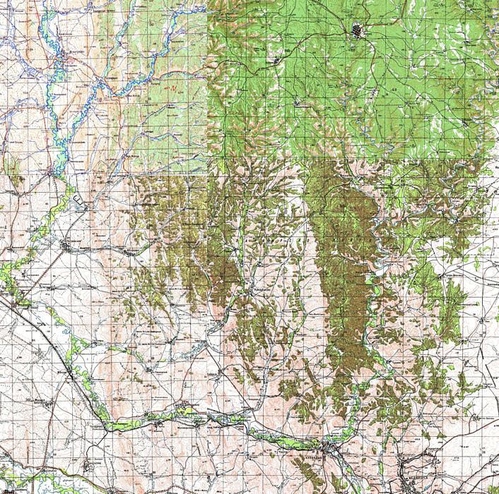 Карта: Зилаирское плато, Саринское плато, хребет Карамурунтау