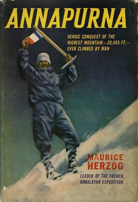 Обложка английского издания книги 1953 года Аннапурна - первый восьмитысячник