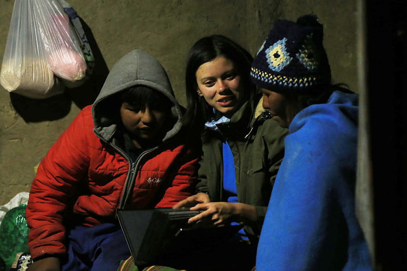 Анна Ларионова во время работы в Южной Америке