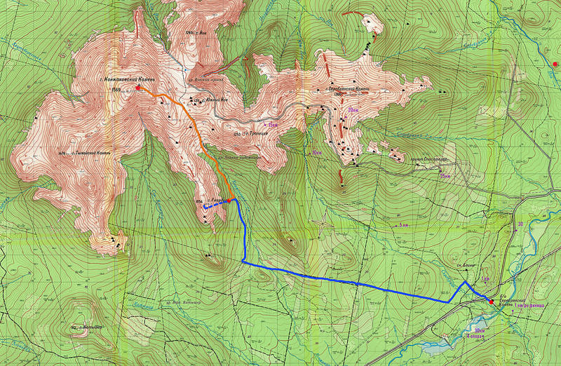 Карта подъема на КОнжаковский камень (и радиалки на Гвардеец)