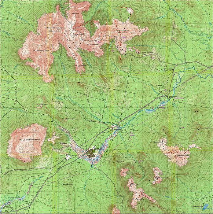 Карта района Конжаковского камня