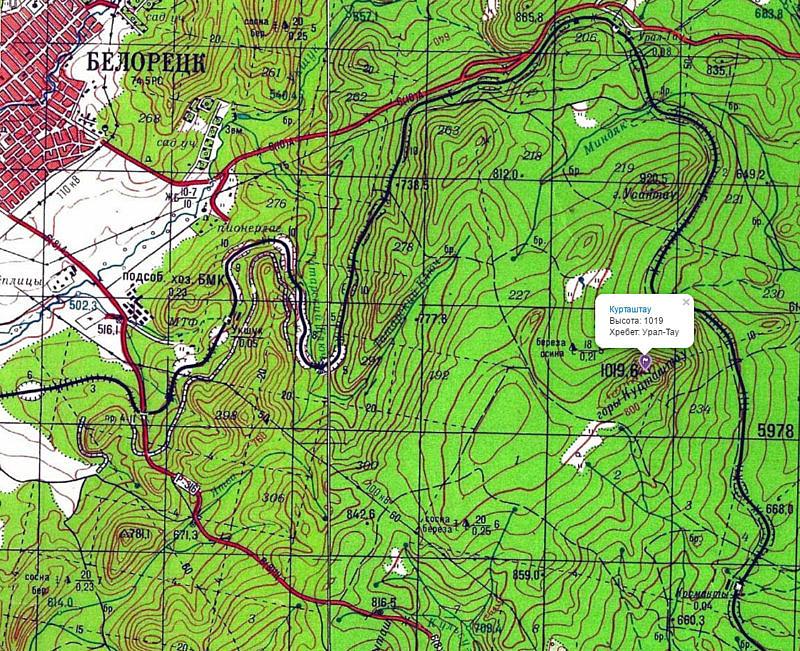 Гора Курташтау на карте