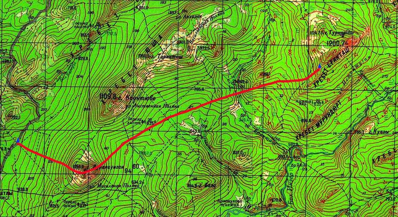 Карта маршрута 1 день. Трасса - Донун Суйган- хр. Ерикташ