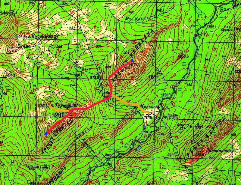 Карта маршрута 2 день. хр. Ерикташ - хр. Капкалка