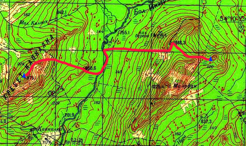 Карта маршрута 3 день. хр. Капкалка - Хребет Маярдак