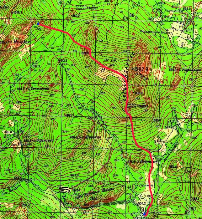 Карта маршрута 4 день. хр. Маярдак- дер. Отнурок