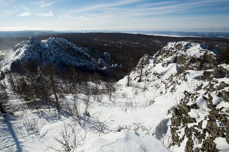 Путь спуска между вершинами Курташтау
