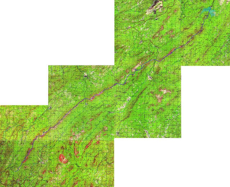 Карта маршрута Нургуш-Зигальга-Нары с треком