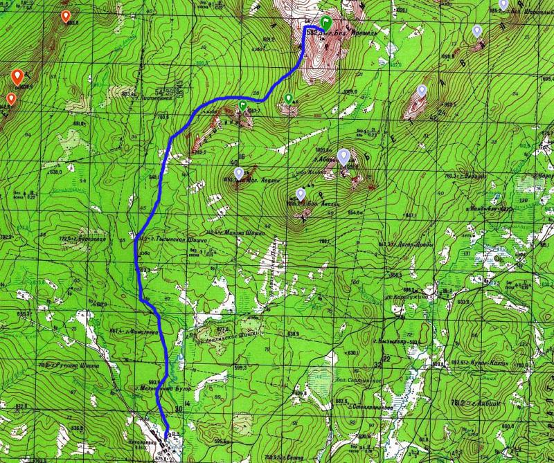 Карта маршрута на гору Большой Иремель со стороны Николаевки