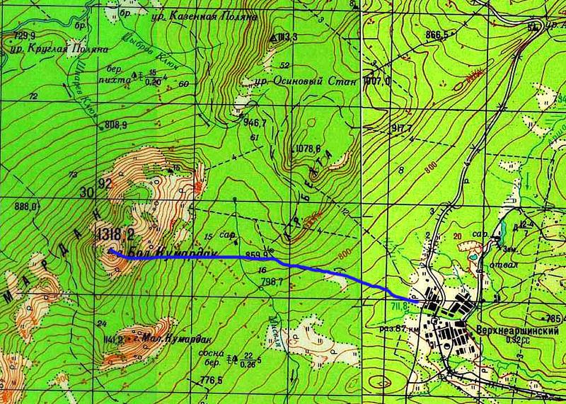 Карта маршрута на гору Большой Кумардак с севера