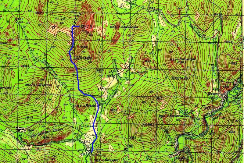 Карта маршрута на гору Ялангас со стороны поселка Отнурок