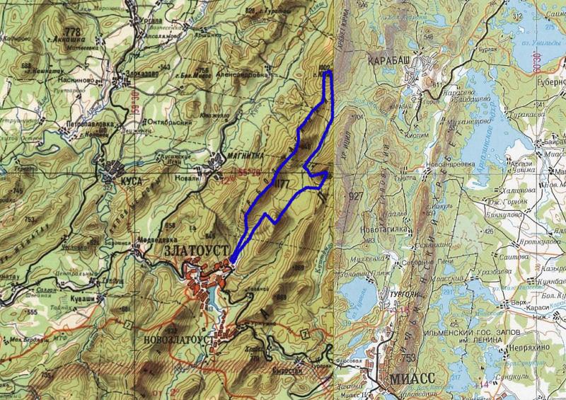 Вариант маршрута по национальному парку Таганай