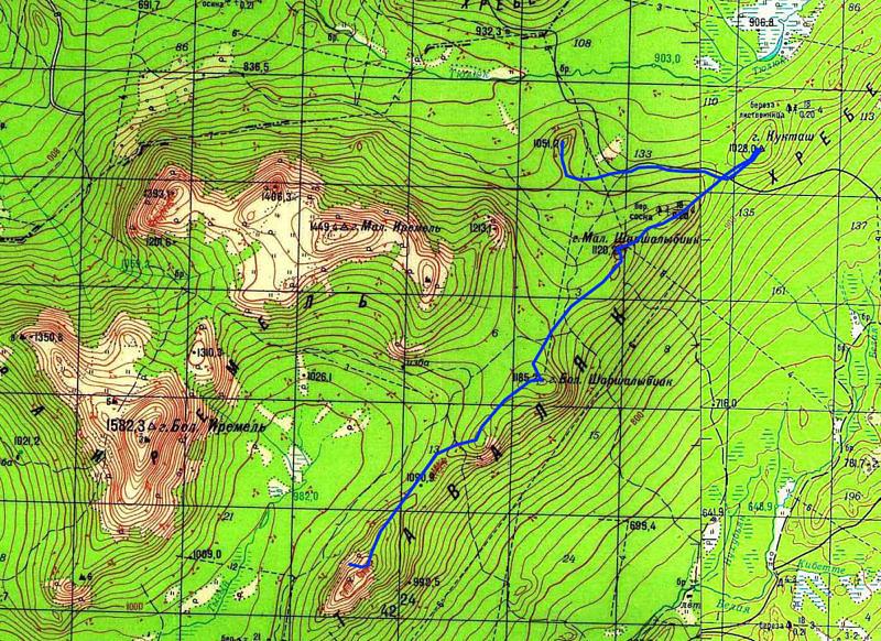 маршрут 2-го дня по хребту Аваляк