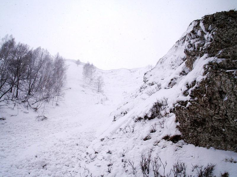 Очаг зарождения лавины лавины на Южном Урале