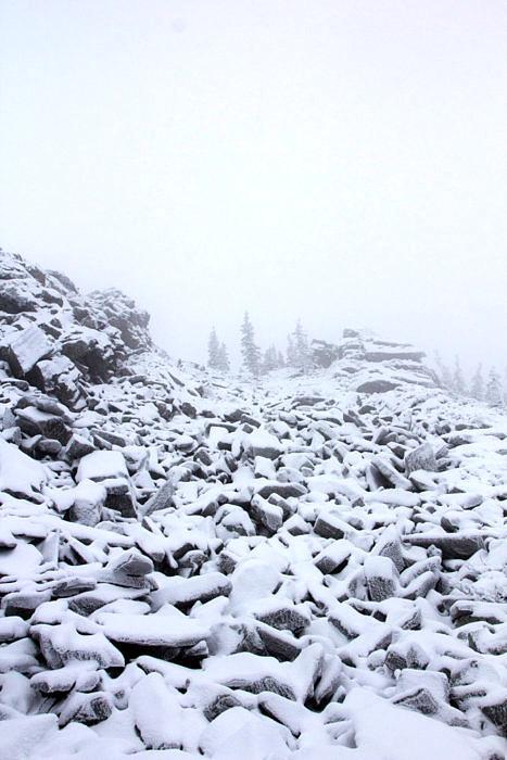 Курум покрытый молодым снегом