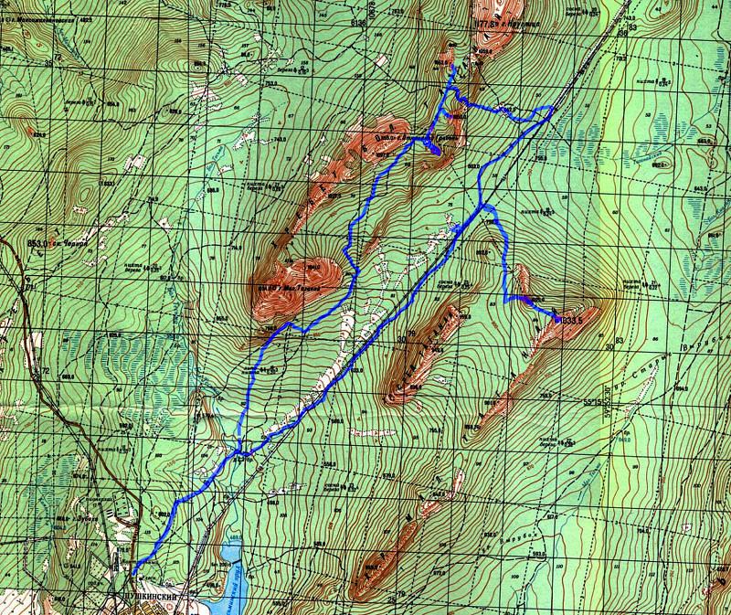 карта 1 дневного маршрута по национальному парку Таганай