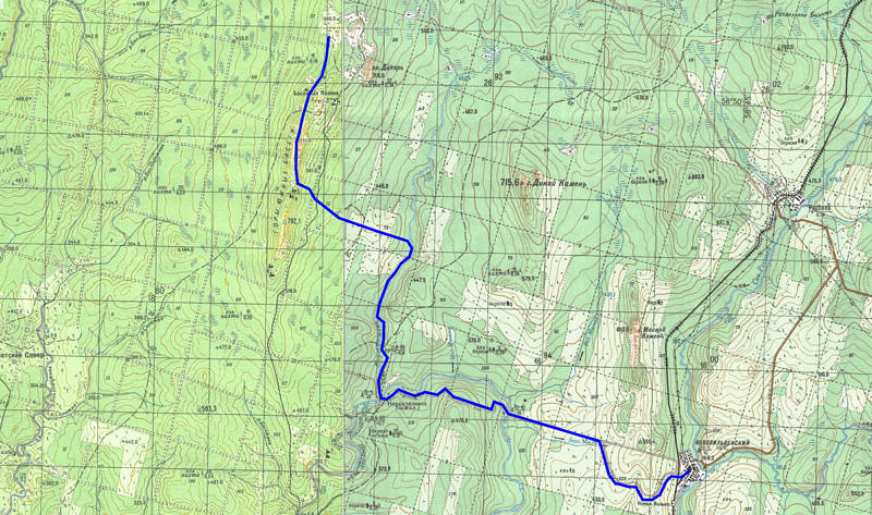 6 день маршрута г. Басежная поляна (817) - безымянная вершина (851) - р. Коростелевка - пос. Нововильвенский