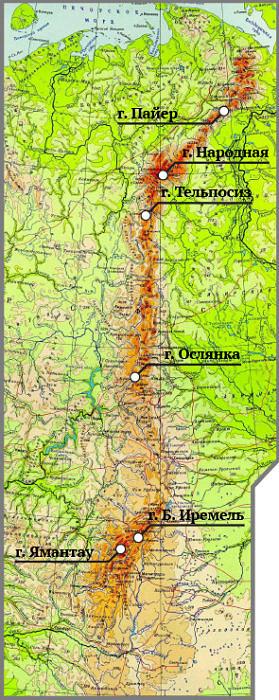 Карта расположения высших точек Урала
