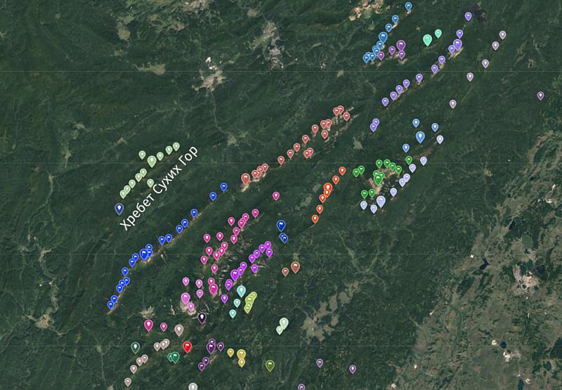 Хребет Сухих Гор на общей карте Южного Урала