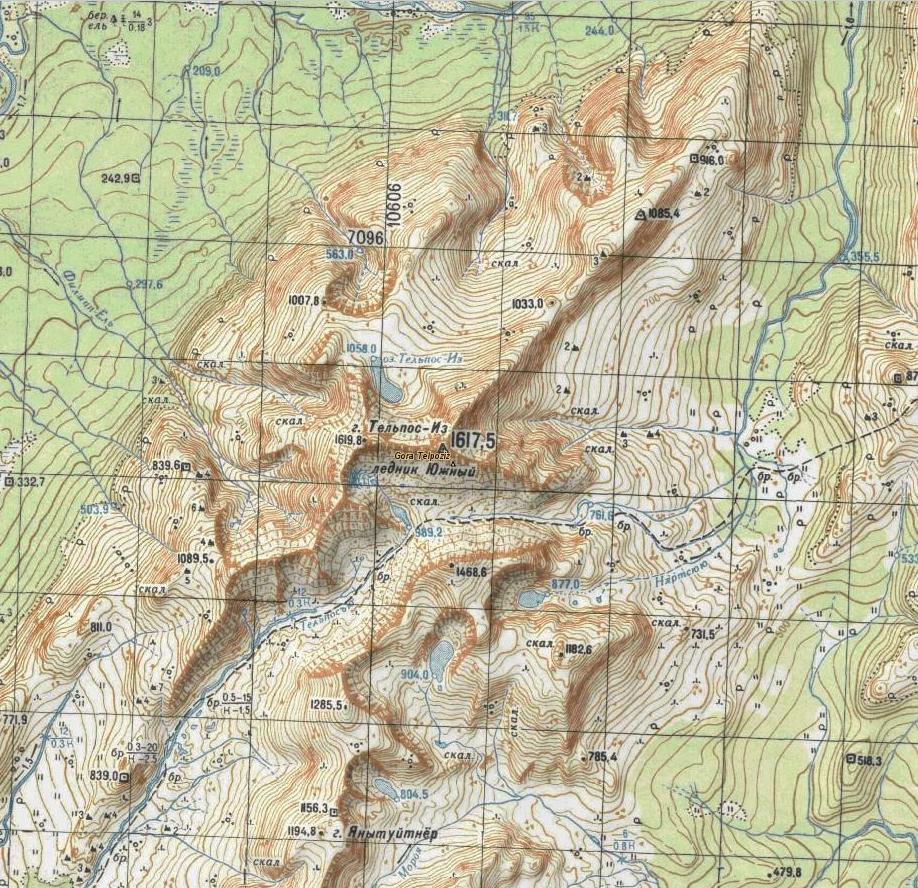 гора Тельпосиз на карте