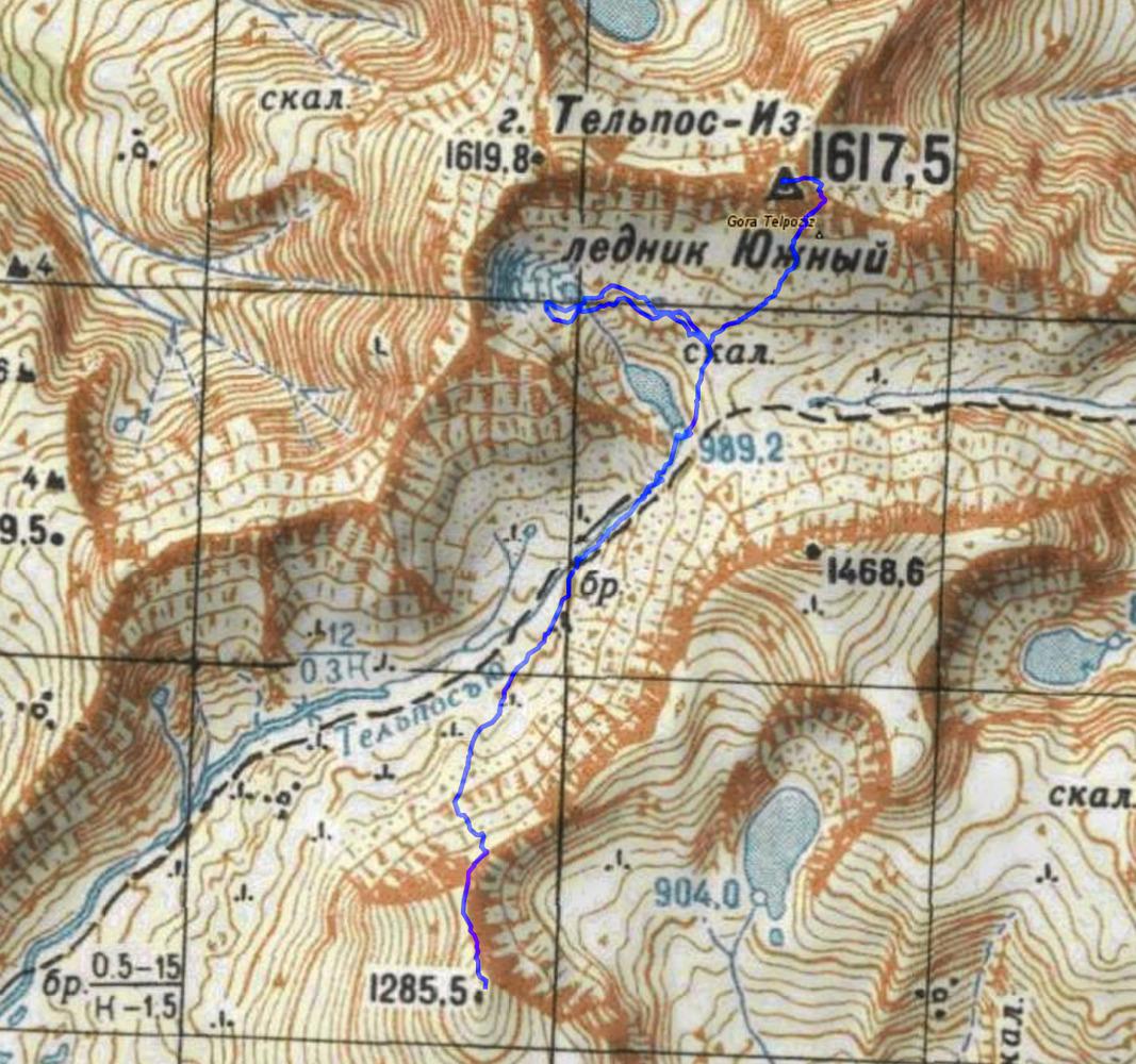 4 день 1285-Ледник Южный- гора Тельпосиз