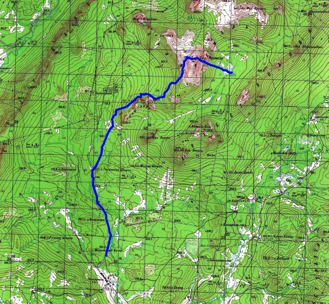 Карта маршрута Тыгын - Иремель - Николаевка