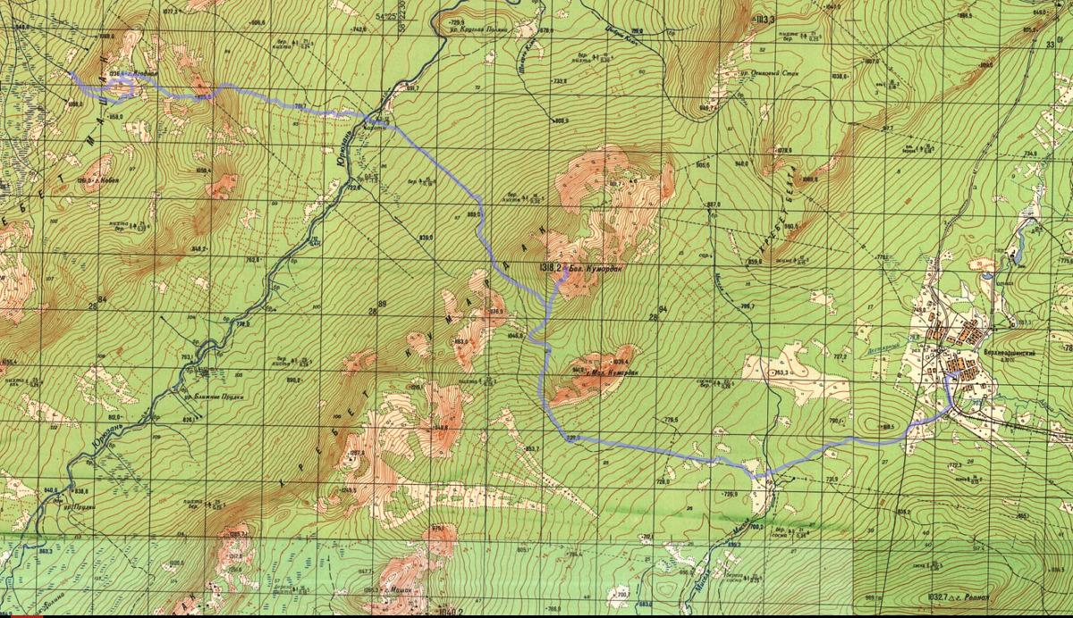 1 день карта маршрут Верхнеаршинский - Кумардак - Юрюзань - хр. Машак