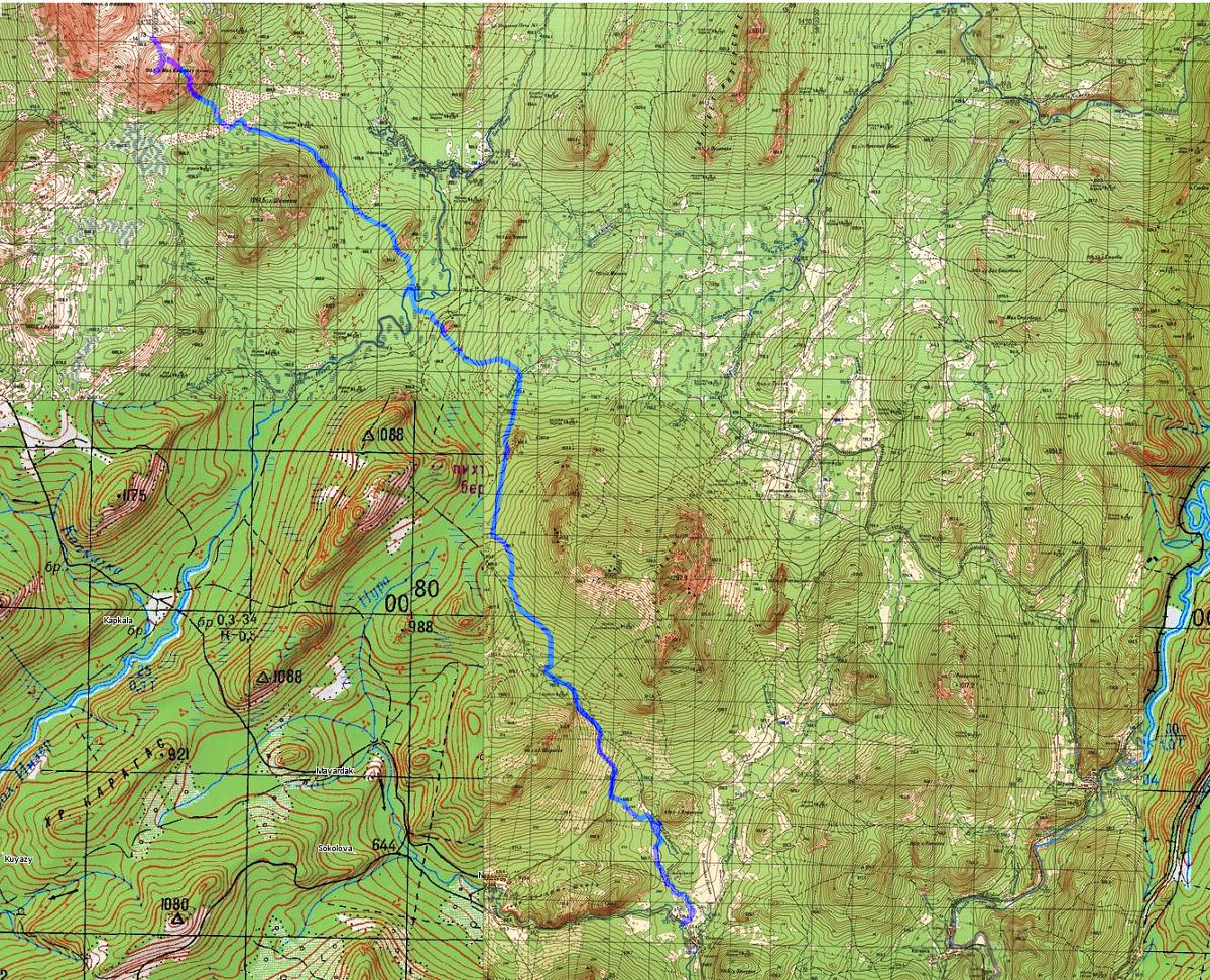 Карта Маршрута Малый Ямантау - Восточный склон горы Шикташ - река Большой Инзер - дер. Отнурок