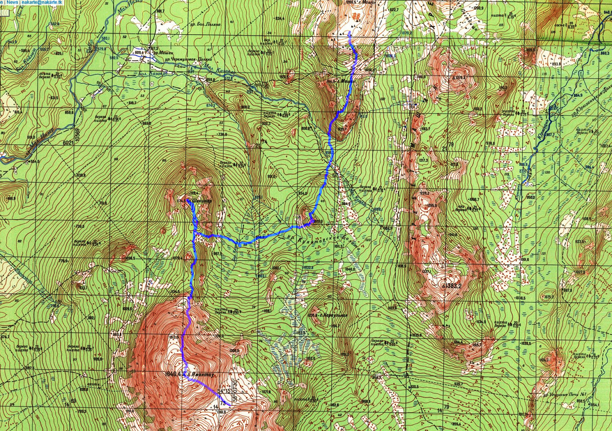 Карта маршрута гор. Машак 1286 - гора 1079 - Шакитар - Ямантау