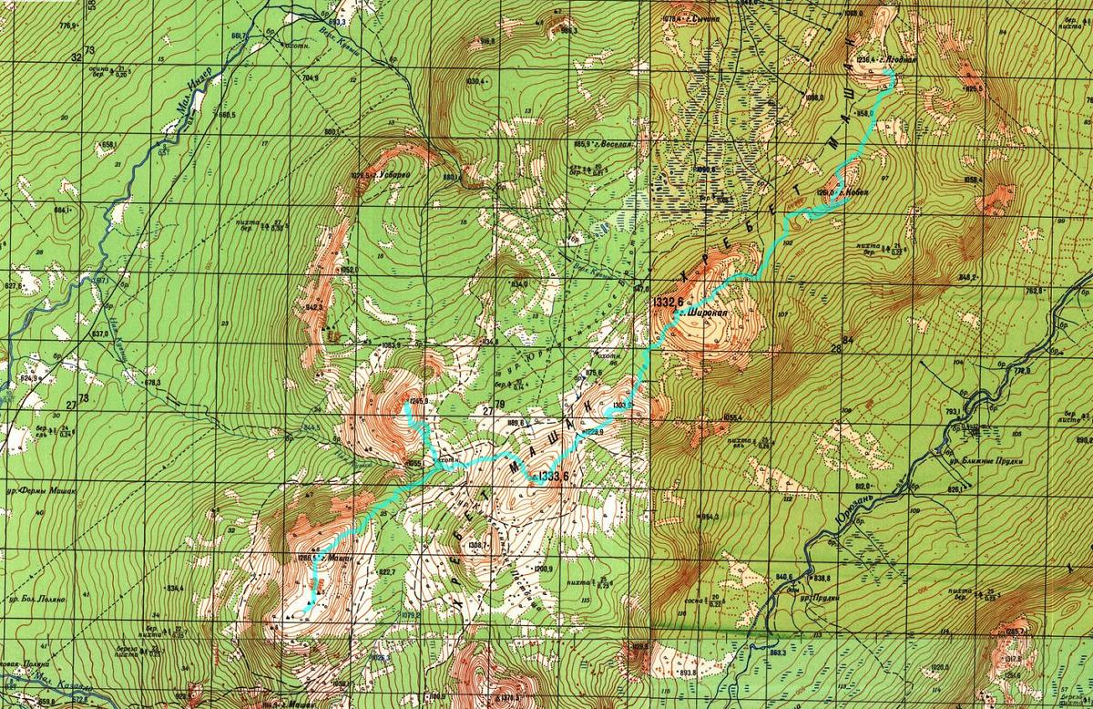 Карта Маршрута гор. Ягодная (хр. Машак) - гор. Кобея - гор. Широкая - гор. 1303- 1333- 1245 - гор. Машак 1286