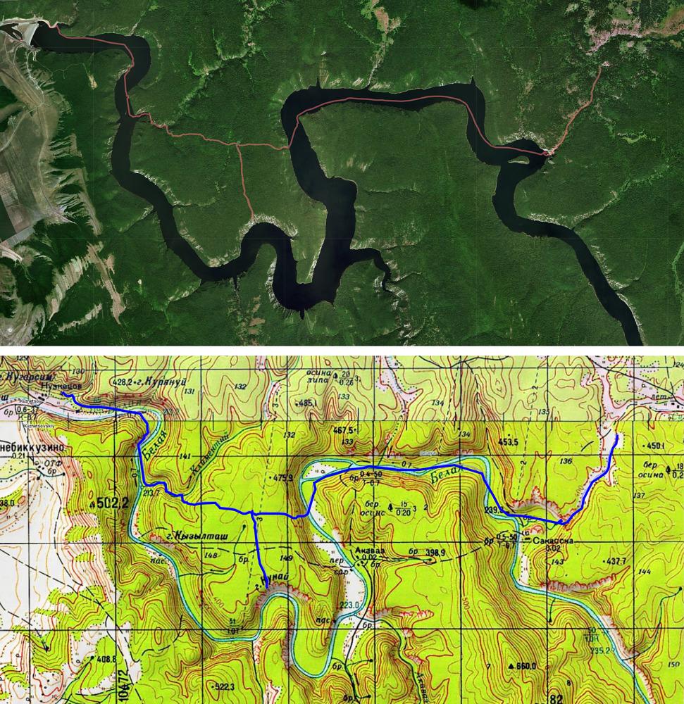 2 день маршрута Юмагузинское водохранилище - рук. Климентий - оз. Заячье - ск. Кунай- ур. Сакаска)