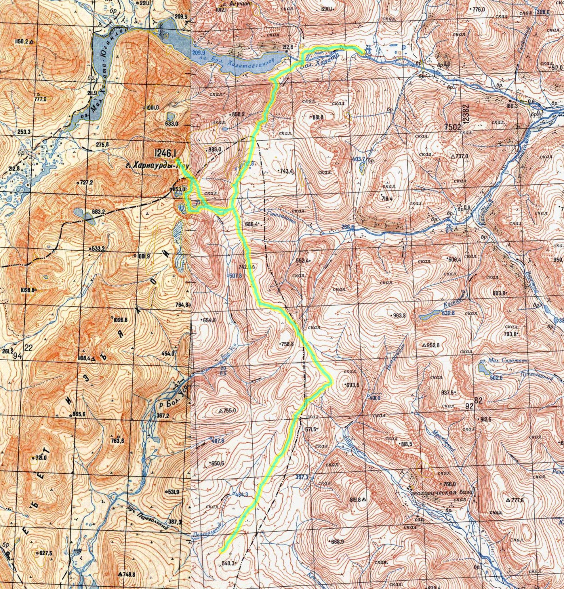 высота 540 - ледник Кулика - Харнаурдыкеу - Большая Хадата