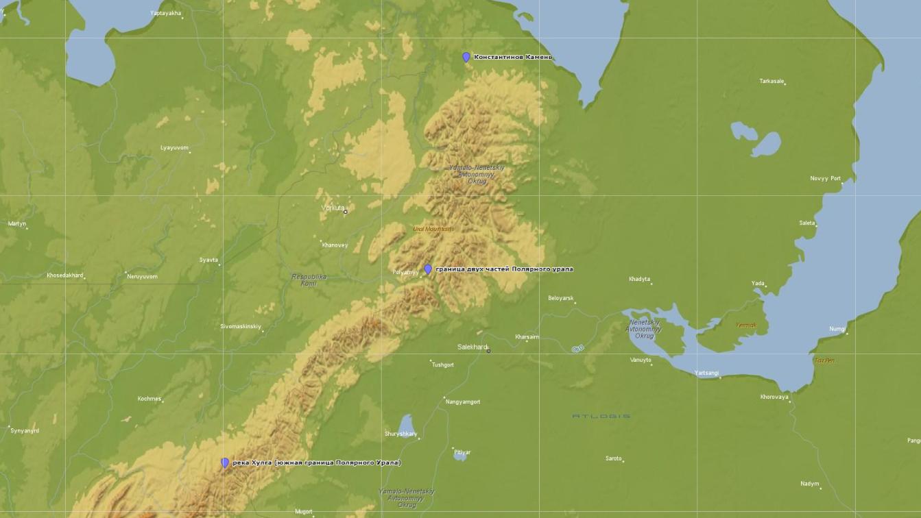 Обзорная карта Полярного Урала с границами