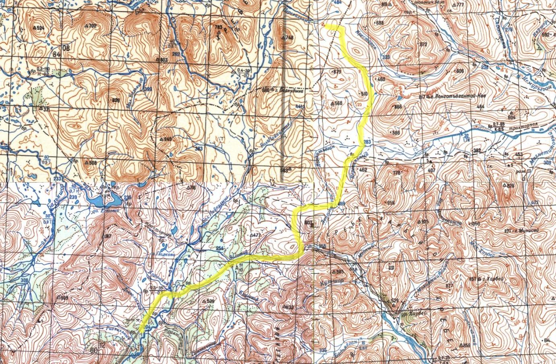 Большая Пайпудына - хр. Харбейхой - р. Лонготъёган - высота 540