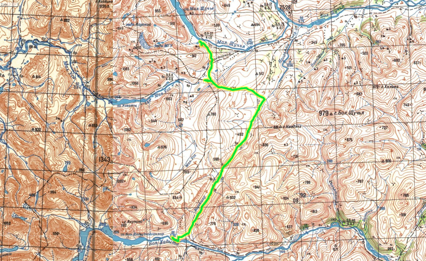 Карта маршрута. Большая Хадата - Малое Щучье озеро