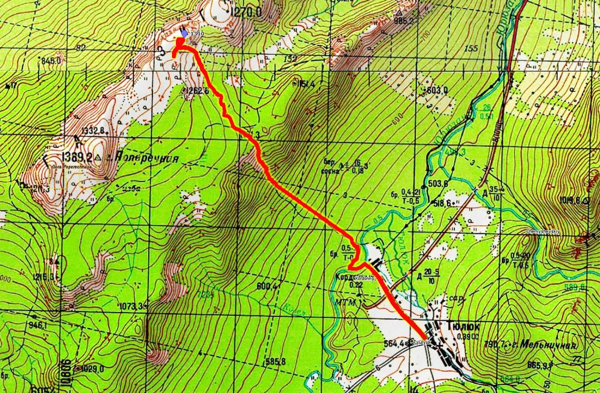 Карта 1 дня Тюлюк- хр. Зигальга