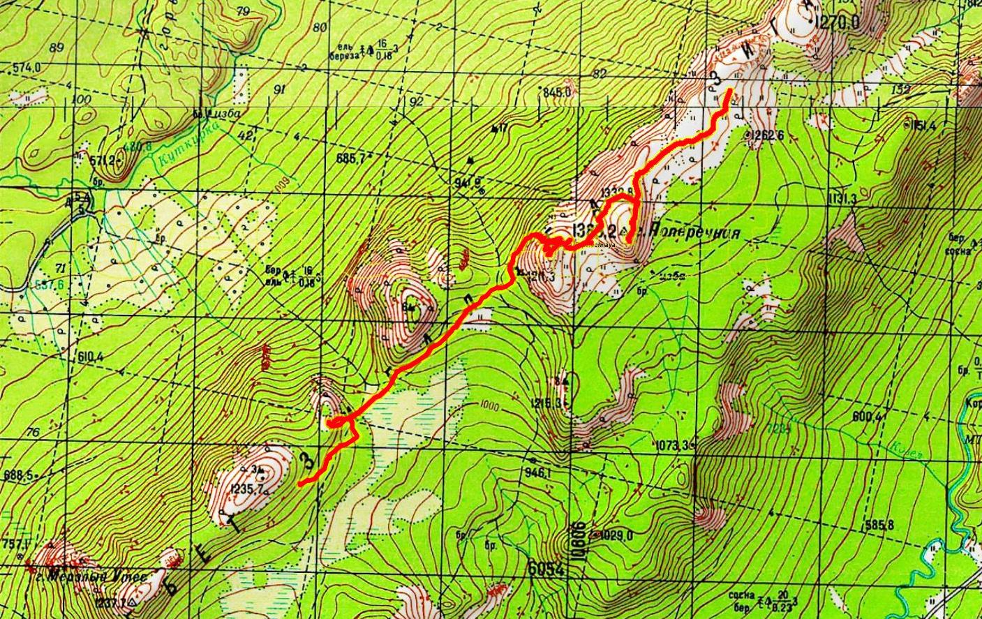 Карта 2 гора Поперечная - 1371 - Мохнатый Дол - 1235