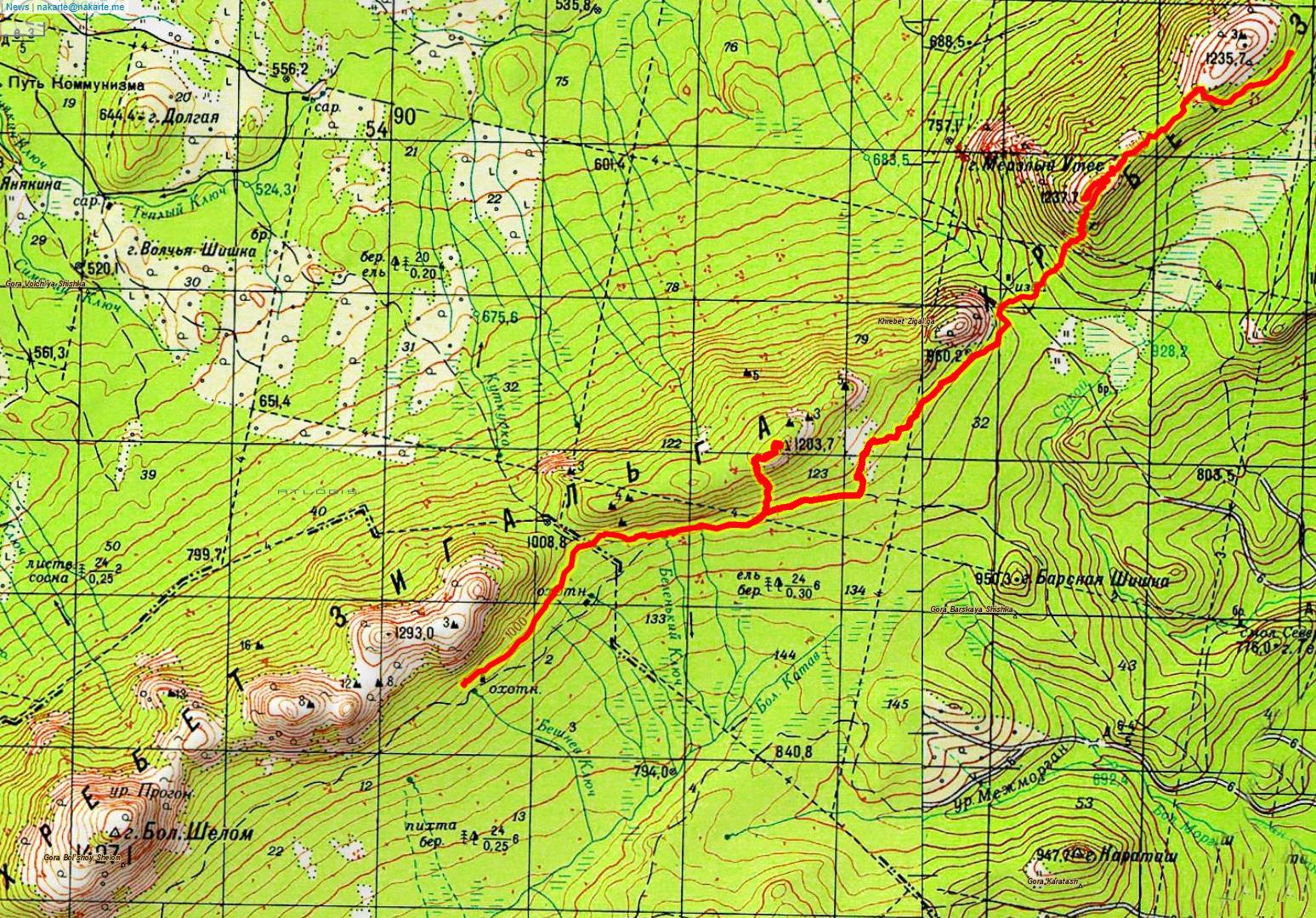 Карта 3 Мерзлый Утес - Антенная - подножие Шеломов