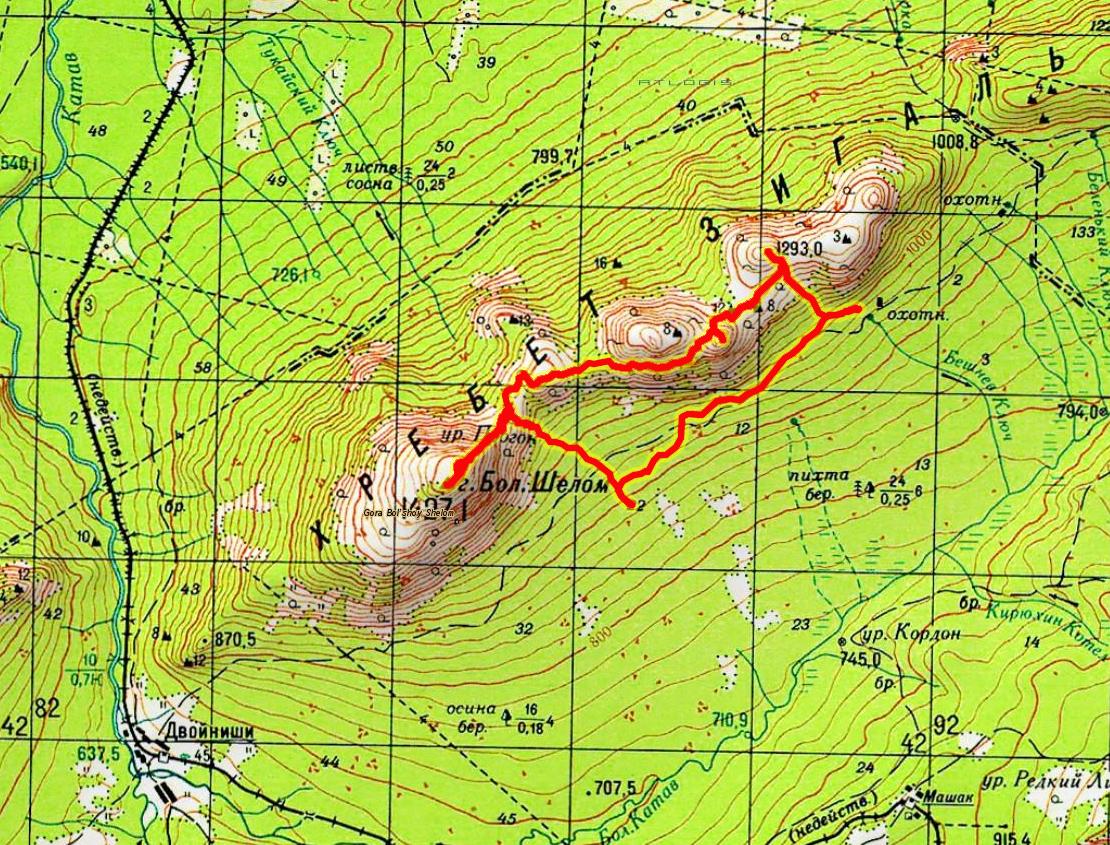 Карта 4 день. 1293 - Верблюд - 1311 - Большой Шелом - 1293