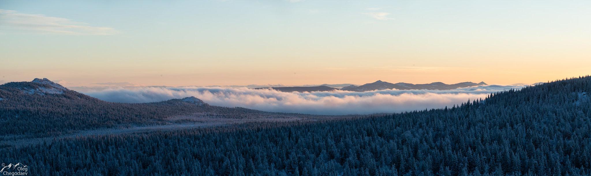 Хребет Кумардак на закате с хребта Зигальга