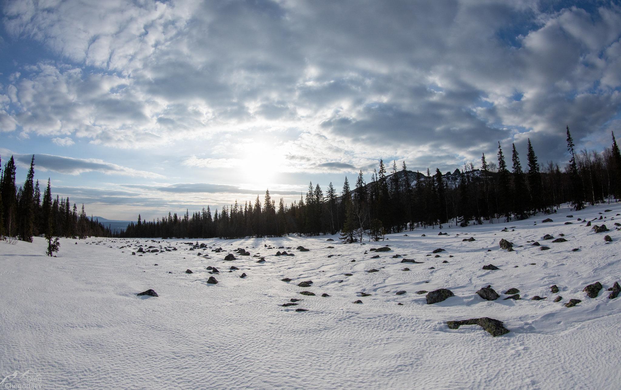 Широкая каменна россыпь (курумная река) зимой