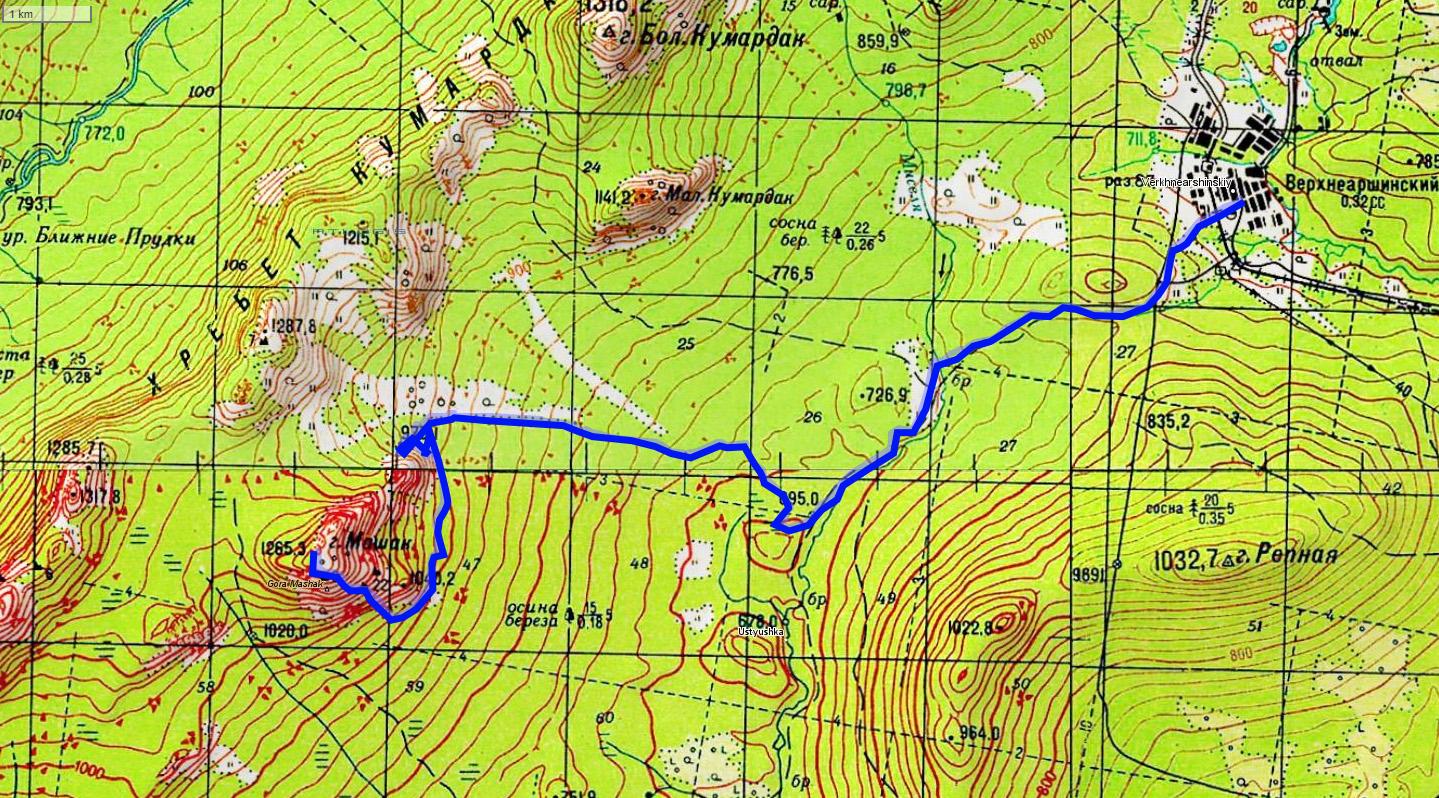 1 день карта Верхнеаршинский - широкая каменная россыпь - гора медвеждья