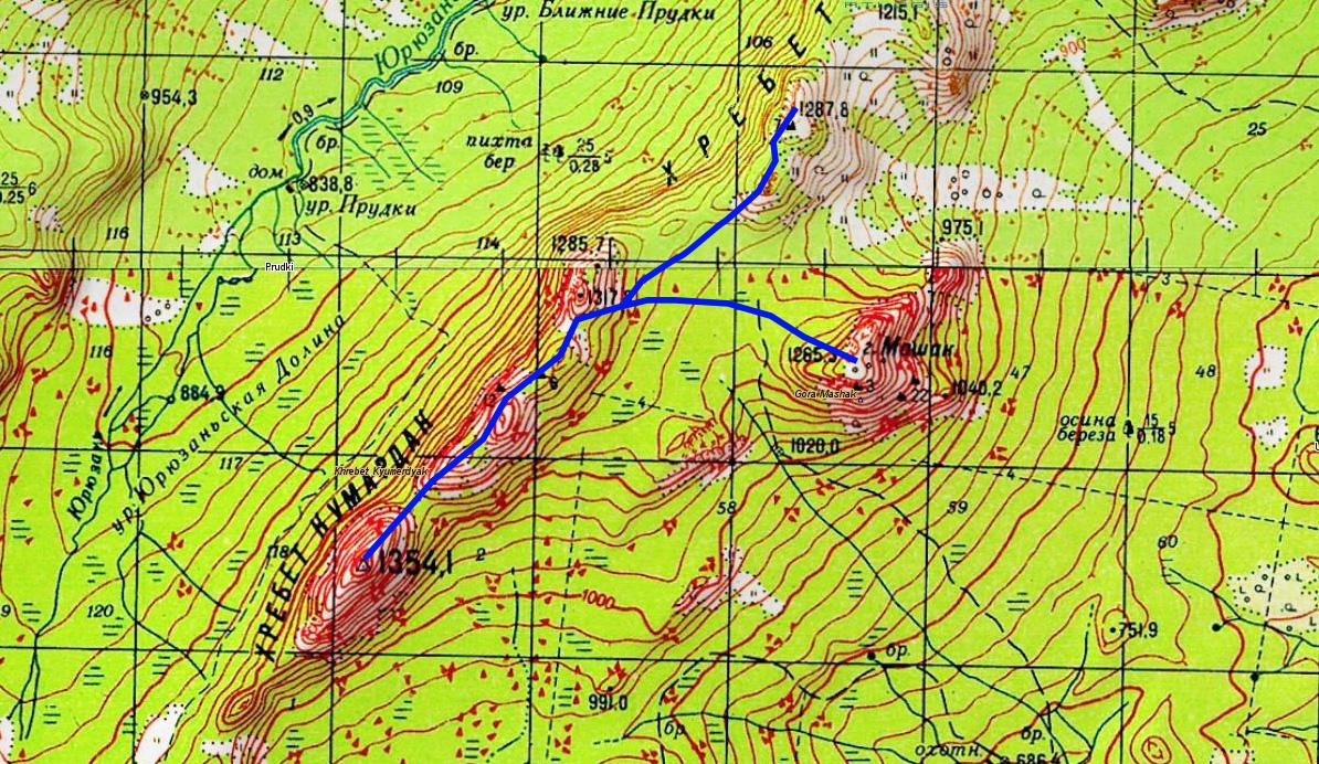2 день карта гора Медвеждья - гора Колокольня - вершина 1287,8 хр. Кумардак